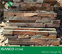 Rusty Stone Veneer,Dark Rusty Decorative Cultured Stone, Rustic Yellow Slate Culture Stone Wall Panel Ledge Stone Corner Stone Wall Cladding Thin Venner Stone