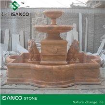 Sculptured Fountains,Garden Fountains, Brown Marble Fountains, Hand Carved Marble Fountain with Pool Border