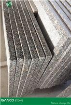 Shandong Brown Granite Table Top Design Pearl Brown Granite Work Tops Solid Surface Table Tops Congo Pearl Granite Reception Desk Big Flower Pearl Flower Granite Reception Counter Right Angle Edges