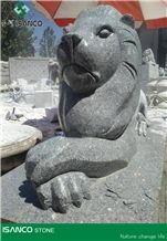 Shandong Grey Granite Lion Landscaping Products Grey Sesame Granite Handcarved Lion Landscaping Stone Grey Granite Carving Lion Landscape Design Outdoor Fortune Stone Products Garden Design Polished