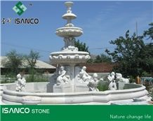 White Marble Garden Fountains Custom Sculptured Fountains Marble Exterior Fountains Water Features Hand Carved Fountains for Garden Decoration