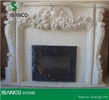 White Marble Sculptured Fireplace Custom Fireplace Decorating Hand Carved Fireplace Cover Handcarved Fireplace Modern Style Fireplace for Inner Decoration