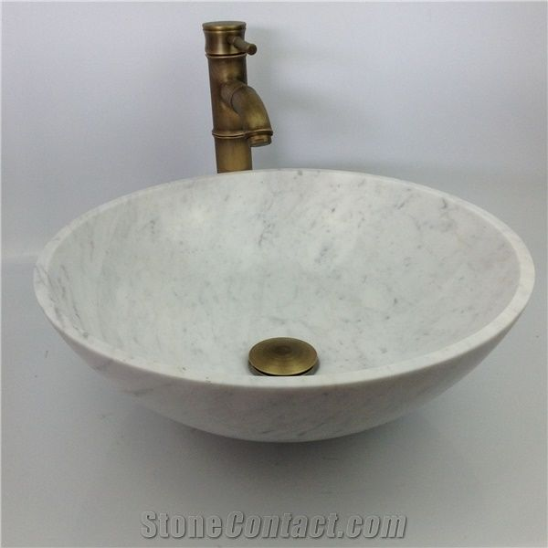 Bianco Carrara D White Marble Shined Italy Bathroom Wash Bowls Round Sinks Basins