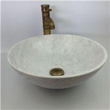 Bianco Carrara D White Marble Shined White Italy Bathroom Wash Bowls Round Sinks & Basins