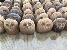 River Coppele Stone Natural China Owl Carving Handcrafts, Beige Granite Animal Sculptures