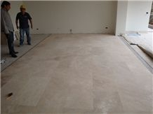 Junin Beige Travertine Tiles, Classic Beige Vein Cut Travertine