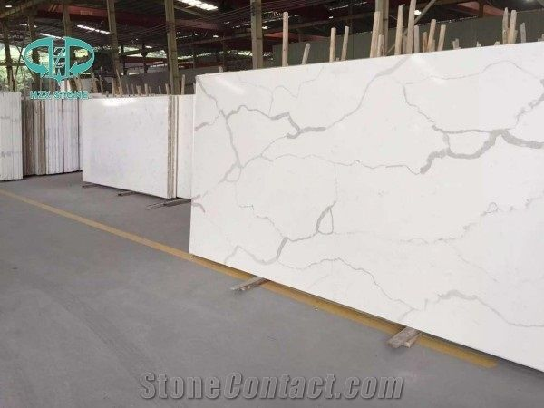 Carrara white quartz stone bath tops white quartz vanity - Engineered stone bathroom countertops ...