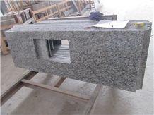 China White Granite Countertops Spray White Prefabricated Kitchen Countertops, Chinese Factory Sea Wave Flower Oval Sink Kitchen Countertops Kitchen Tops