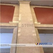 Turkey Beige Marble Chanel Gold Coludy Marble Prefab Walling Capping, Wall Coping