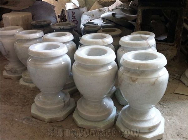 White Marble Vases Tombstone Vases Flower Holders Monumental Vases From China Stonecontact Com