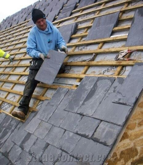Chinese Roofing Slate Xingzi Black Tiles Natural Surface And Back Dark Grey Roof Astm Ce Qualified Tile