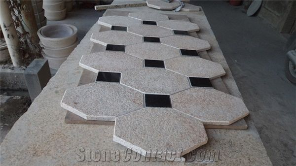 Hexagon Shape Flamed Gold Sunset Mixed Square Black Granite Stone Exterior Floor Pattern Design From China - StoneContact.com