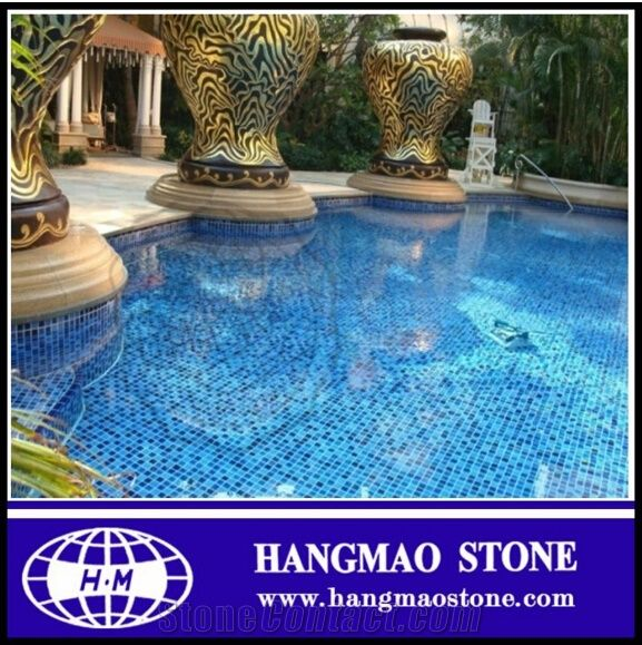 Low Price Blue Swimming Pool Mosaic Glass Tiles from China ...