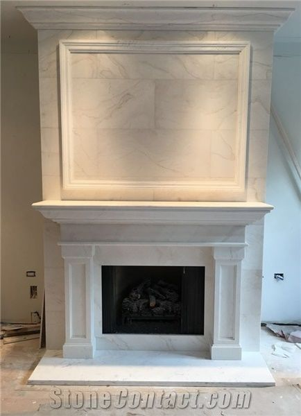 White Marble Fireplace Mantel Sculptured Fireplace From