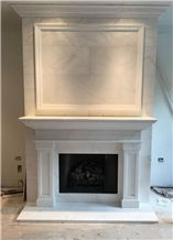 White Marble Fireplace Mantel Sculptured Fireplace