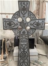 Black Granite Cross Celtic Engraved Headstones Tombstone Monument