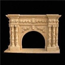 Hot Sale Beige Handcarved Marble Fireplace Mantel