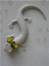 Carved Indiana Limestone Salamander