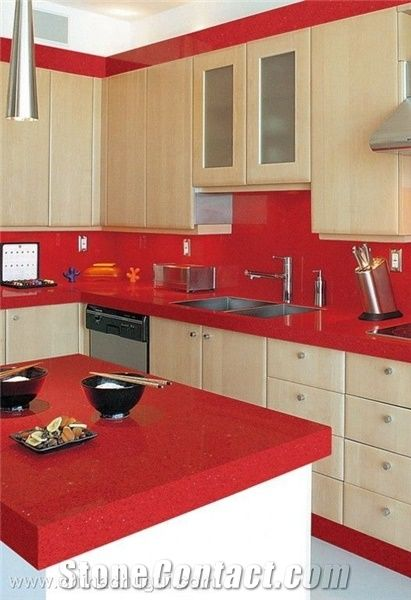 Perfab Red Quartz Stone Countertops For Kitchen Worktop
