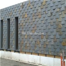 Cheap Natural Split Surface Finishing Multicolour Rusty Stone Slate Roof Tiles