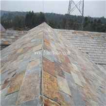 Hot Sale Natural Split Surface Finishing Rusty Color Culture Stone Slate Flat Roof Tiles
