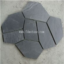 Loose Crazy Black Slate Paving Stone on Net, Cheap Paving Stone Mold Flexible Thin Slate, Meshed Crazy Flagstone Walkway Pavers