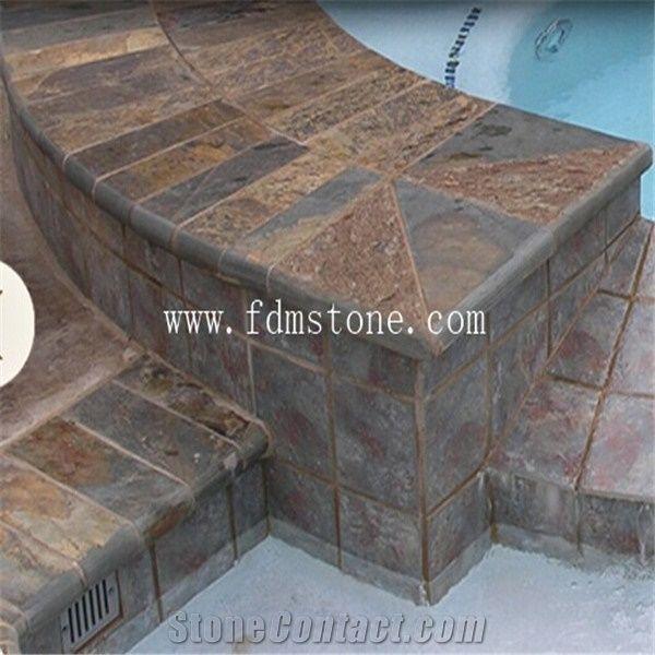 Rusty Slate Bullnose Pool Coping Tile