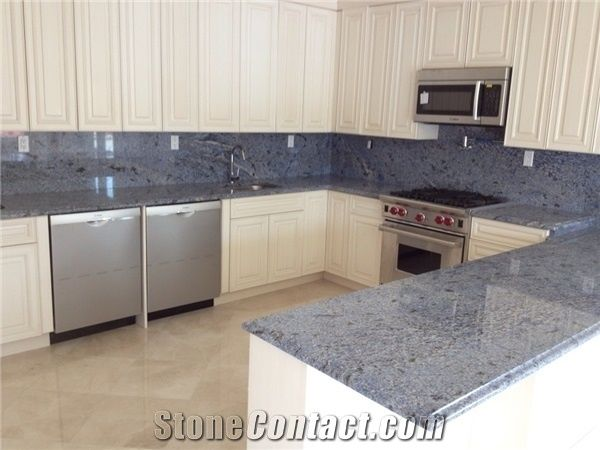 Azul Bahia Blue Granite Kitchen