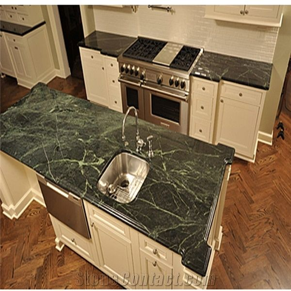 Green Marble Kitchen: Rain Forest Green Kitchen Island,Marble Countertops From China