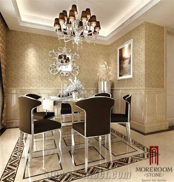 Dark Emperador Border Pattern Marble Flooring Designs