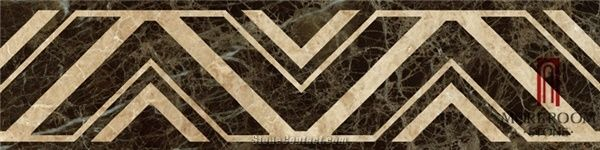 Home Molding Border Dark Emperador Pattern Marble Flooring Designs