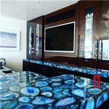 Semiprecious Stone Blue Agate for Countertops