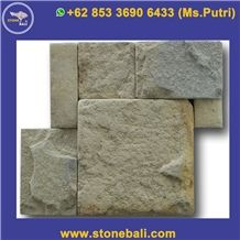 Beige Limestone Tumbled Wall Cladding Brick Stacked Stone, Indonesia Beige Grey Limestone Split Face Culture Stone Wall Cladding, Java Beige Grey Limestone Stacked Stone Veneer
