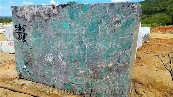 Brazil Ocean Ice Blue Granite Blocks Amazon Green Granite