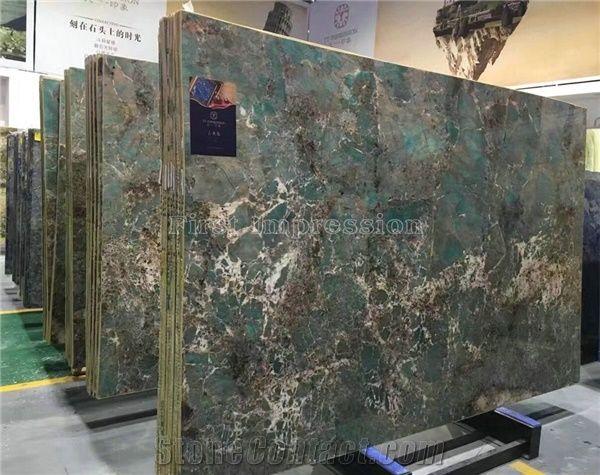 Brazil Ocean Ice Blue Granite Slabs Amazon Green Granite