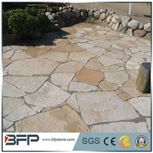 China Popular Cheap Yellow Irregular Crazy Paving Flagstone for Walkway, Road Paving Stone, Driveway, Natural Paving Stone Decoration for Garden, House Exterior Wall, Quarry Owner