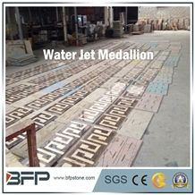 Coffee and Beige Marble Mosaic Border Line, Water Jet Medallion for High End Hotel Hall Floor or Wall Covering