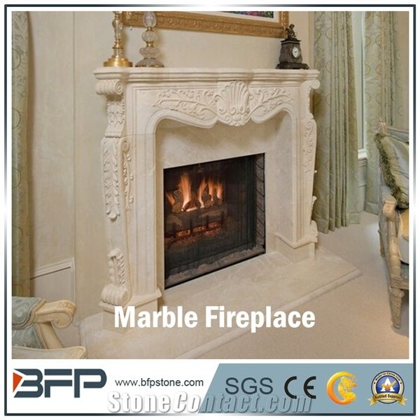 free shipping 2fae8 b3a26 High End White Marble Fireplace Mantel, Handcarved ...