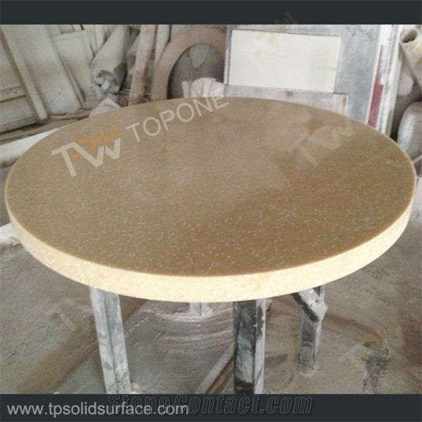 Beige Color Round Artificial Marble Stone Table Tops For Dinner - Corian restaurant table tops