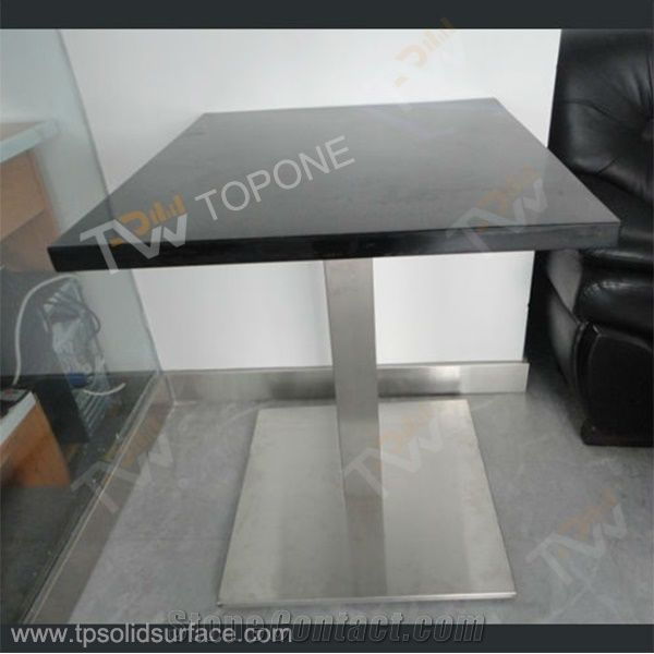 Corian Acyrlic Solid Surface Balck Color Table Tops and Stainless