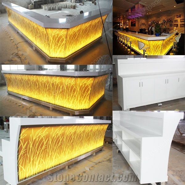 Led Light Artificial Marble Stone Bar Counter Tops For Bar