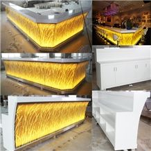 Led Light Artificial Marble Stone Bar Counter Tops for Bar Furniture,Acrylic Solid Surface Bar Desk Tops for Night Club,Interior Stone Bar Tops Furniture