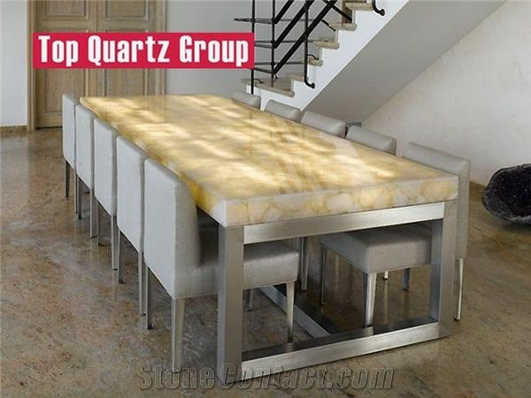 Agate Translucent Dining Table Yellow Semiprecious Stone