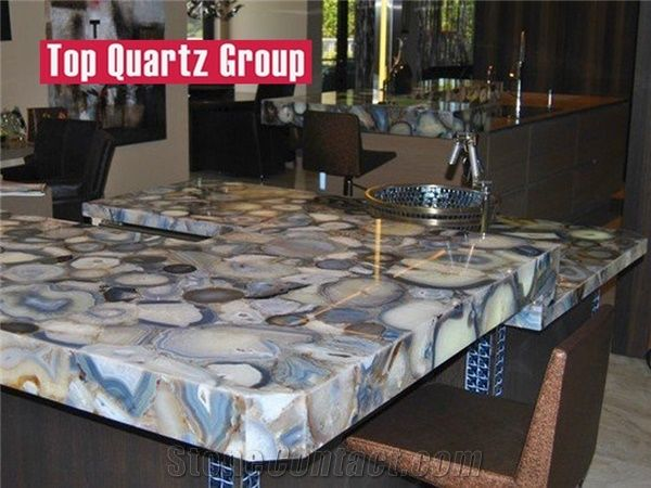 Blue Agate Stone Kitchen Countertop For