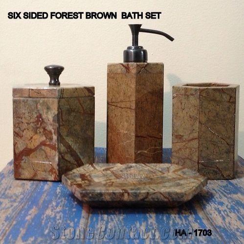 Rain Forest Brown Marble Bathroom