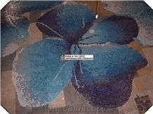 Mosaic Flower Pattern Design for Swimming Pool