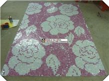 Pink Flower Mosaic Medallions for Wall