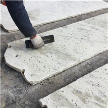 India Imperial White Granite Kitchen Countertop on Resin Brushing, White Granite Countertop Production