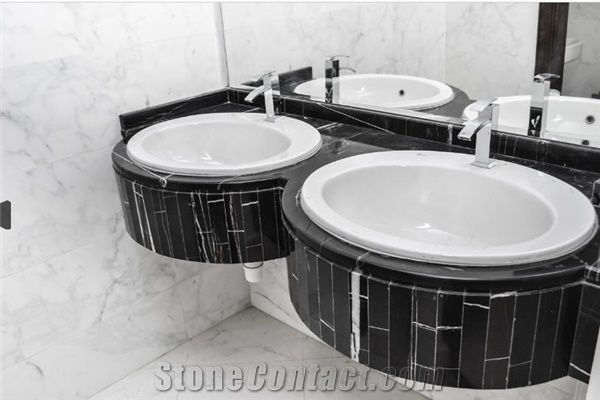 Nero Marquina Double Sink Master Bathroom Top From United