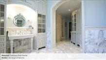 Calacatta Gold Marble Bathroom Design, Durango Limestone Border